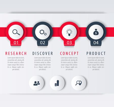 Productontwikkeling, infographic elementen, 1, 2, 3, 4, stappen, etiketten, vector illustratie
