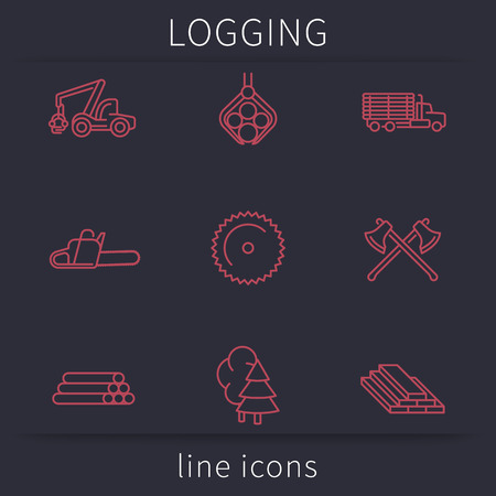 logging: Logging, Forestry, Timber, Tree Harvester, Sawmill, line icons, vector illustration Illustration