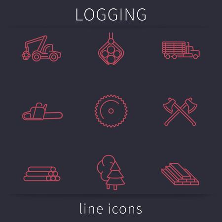 Logging, Forestry, Timber, Tree Harvester, Sawmill, line icons, vector illustration Illustration