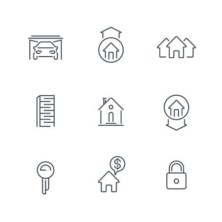 over white: Real estate line icons isolated over white, vector illustration