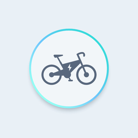 electric vehicle: Electric bike round icon, modern ecologic transport, vector illustration