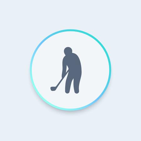golf player: golf icon, golf player, golfer round icon, vector illustration Illustration