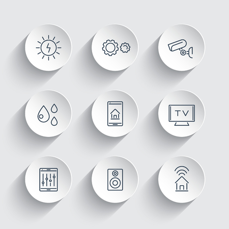 Smart House, smart electronics, internet of things, line icons on round 3d shapes, vector illustration
