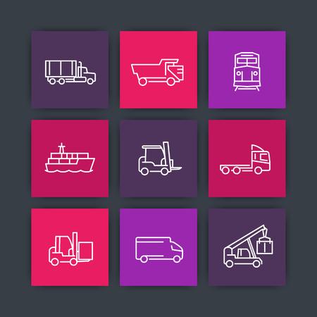 lading: Transportation, line icons, forklift, cargo ship, freight train, kinds of transportation, mode of transport square icons, vector Illustration