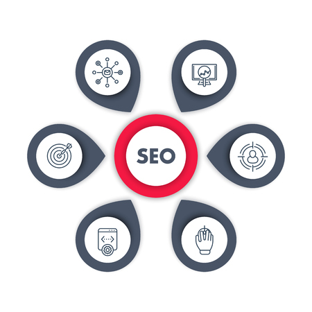 indexing: seo infographics template design, search engine optimization, internet marketing, web page indexing, seo tools line icons, vector