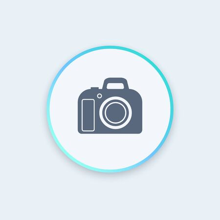 dslr: DSLR camera round icon, vector illustration Illustration