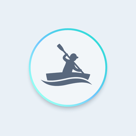canoeing: kayak round icon, rowing, canoeing icon, vector illustration Illustration