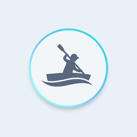 kayak round icon, rowing, canoeing icon, vector illustration Illustration