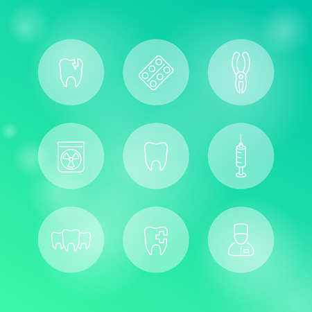 toothcare: Tooth, dental care, dental pliers, toothcare, stomatology, line round white icons, vector illustration Illustration