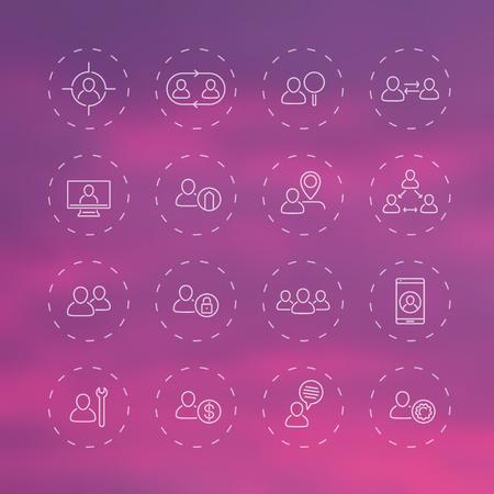 delegation: Personnel, Human resources, HR, staff line transparent icons, vector illustration