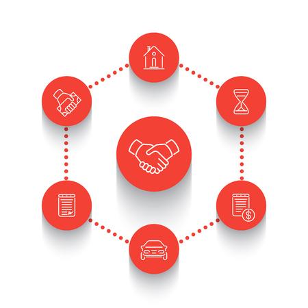 handgrip: Leasing, banking, loan, lending line round icons over white, vector illustration Illustration