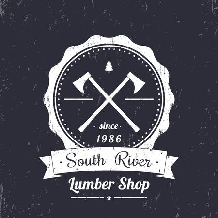 lumber: Lumber shop round vintage logo, grunge emblem, badge, vector illustration