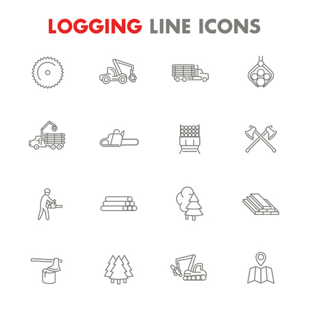 Logging line icons isolated over white, sawmill, forestry equipment, logging truck, tree harvester, timber, lumberjack, wood, lumber, Ilustração