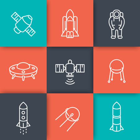 spacesuit: space line icons, satellite, space shuttle, spaceship, rocket, spacesuit, astronaut, vector illustration