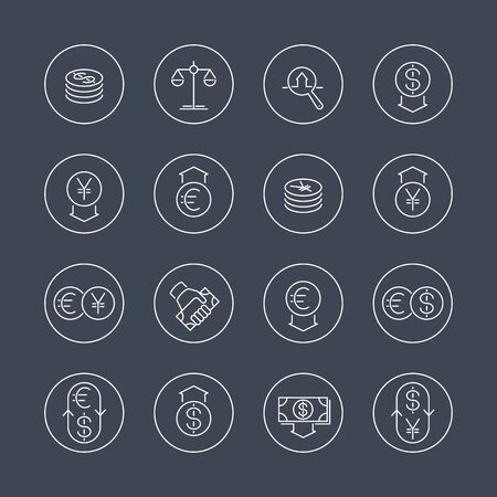 appraisal: Currency, forex trading, money, investment line icons in circles, vector illustration