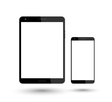 over white: tablet and smartphone vector mockup over white, vector illustration