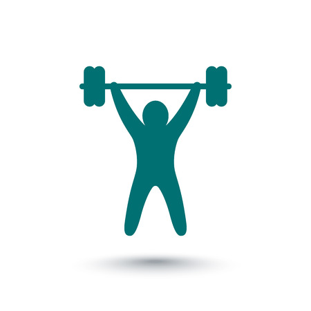 military press: strength training icon, fitness, workout icon, gym sign isolated over white, vector illustration Illustration