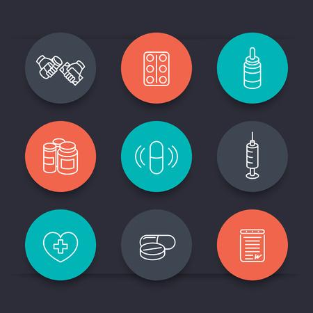 prescription drugs: medicine, drugs, pills, pharmaceutics, prescription line round icons, vector illustration Illustration