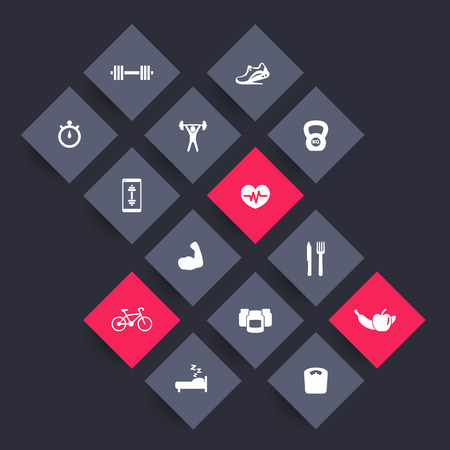 14 fitness, gym rhombic icons, fitness app icon, vector illustration