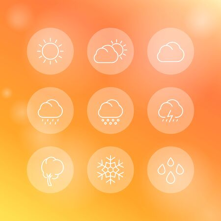 hail: Weather, sunny, cloudy day, rain, hail, snow, wind, line round white icons, vector illustration