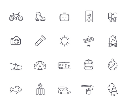 Hiking, Camping, Trekking, Adventure line icons pack, vector illustration