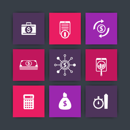 futures: finance, investments, capital icons on squares, vector illustration Illustration