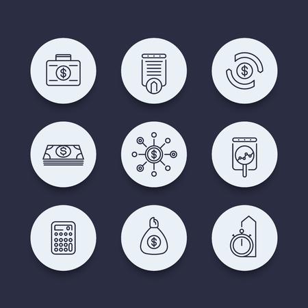 estimate: finance, investments, estimate, line round icons, vector illustration