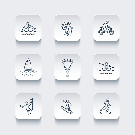 alpinism: extreme outdoor activities line rounded square icons, vector illustration