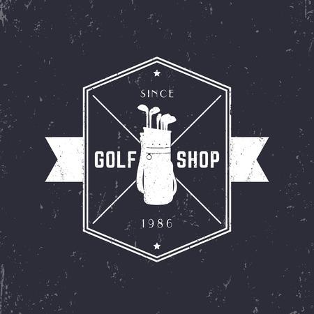 golf bag: Golf Shop vintage grunge emblem, logo with golf bag and clubs, vector illustration Illustration