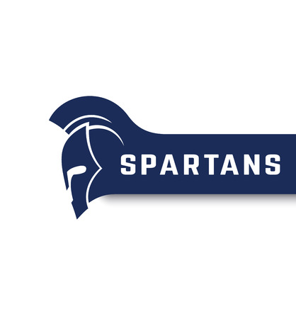 Spartans logo with warrior helmet with mohawk, vector illustration