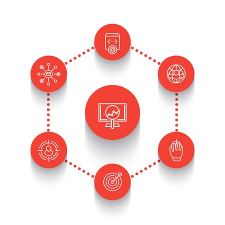 indexing: seo line round icons, search engine optimization, internet marketing, web page indexing, seo tools icons over white, vector illustration