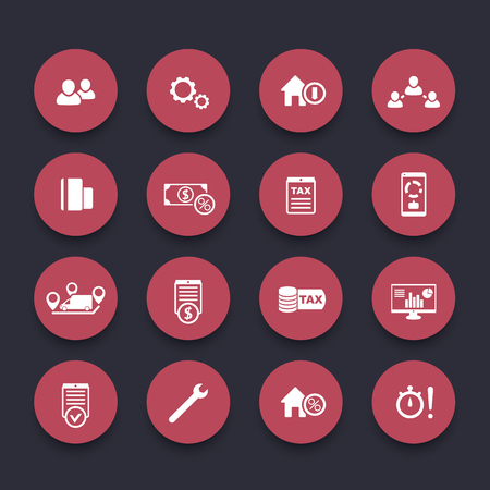 costs: 16 finance, costs, tax round red icons, vector illustration
