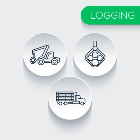 Logging, forestry, timber, tree harvester, logging truck line icons, vector illustration