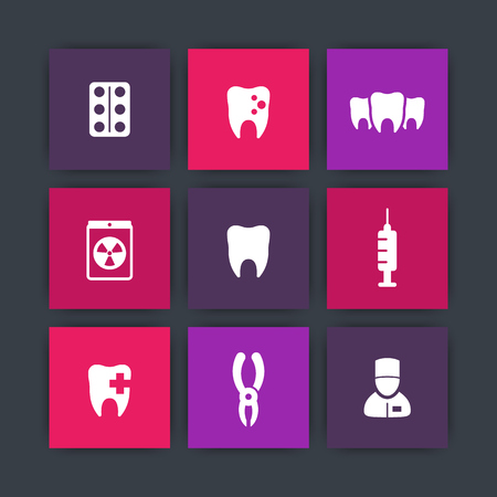 toothcare: Teeth square icons, dental care, tooth cavity, toothcare, stomatology icons, vector illustration