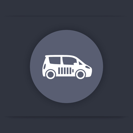 ecologic: electric car round flat icon, EV, car with battery, ecologic transport icon, vector illustration