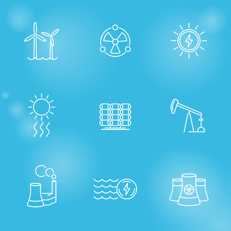nuke plant: Power, energy production, nuclear energetics, electric industry, line icons set, vector illustration