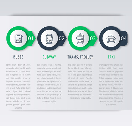 transportation icons: City transport, infographic elements, step labels, icons, vector illustration