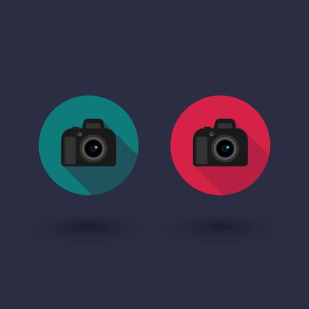 dslr: DSLR camera round flat icon, vector illustration Illustration