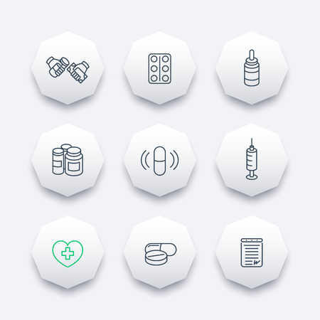 pharmaceutics: medicine, drugs, pills, pharmaceutics line octagon icons, vector illustration