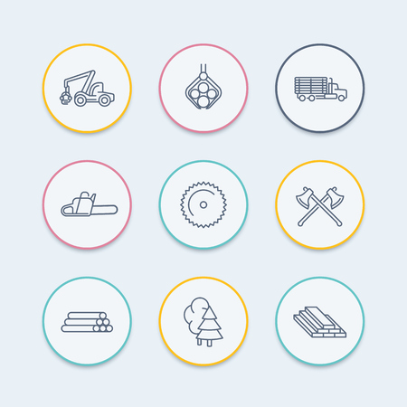 logging: Logging, forestry, timber, tree harvester, logging truck thin line round icons, vector illustration