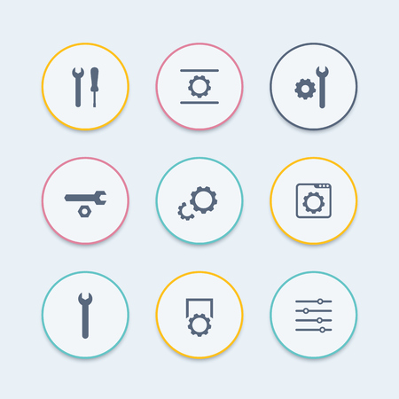 calibration: settings, configuration, development round stylish icons set, vector illustration