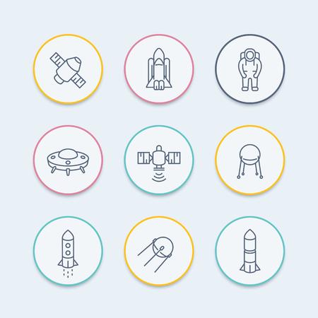 spaceflight: space line icons, satellite, astronaut, space shuttle, spaceship, spacecraft round icon, vector illustration