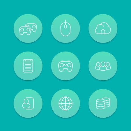 cooperativismo: videojuegos, cooperativo, multijugador, juegos de consola de video, ronda los iconos de línea, juego de color aguamarina, ilustración vectorial Vectores