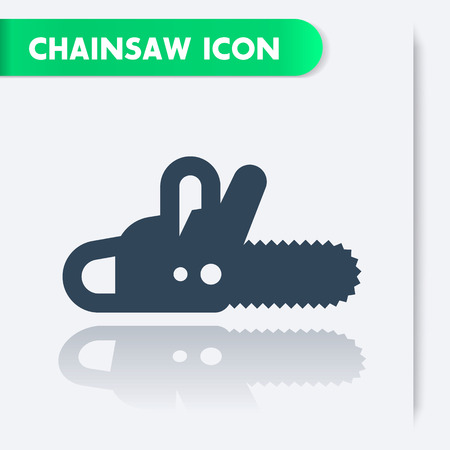 logging: Chainsaw icon, chain saw, logging equipment isolated icon, vector illustration