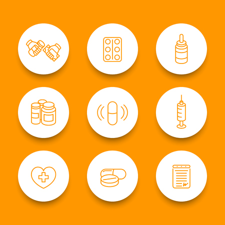 drugs pills: medicine, drugs, pills, pharmaceutics line round icons set, vector illustration