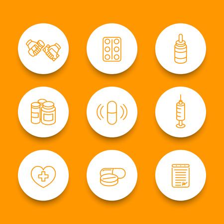 drugstore: medicine, drugs, pills, pharmaceutics line round icons set, vector illustration