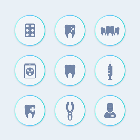 toothcare: Teeth, dental care, tooth cavity, toothcare, stomatology round stylish icons, vector illustration Illustration