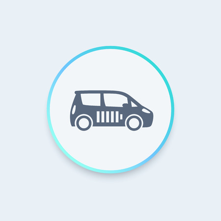 ecologic: electric car round icon, EV, car with battery, ecologic transport icon, vector illustration