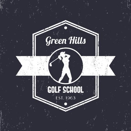 golfer swinging: Golf school vintage tetragonal logo, badge, with girl golfer, female golf player swinging golf club, vector illustration