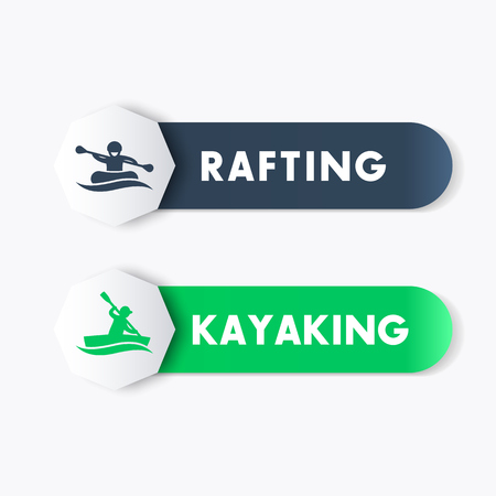 kayak: Kayaking, rafting icons, banners, labels in blue and green over white, vector illustration